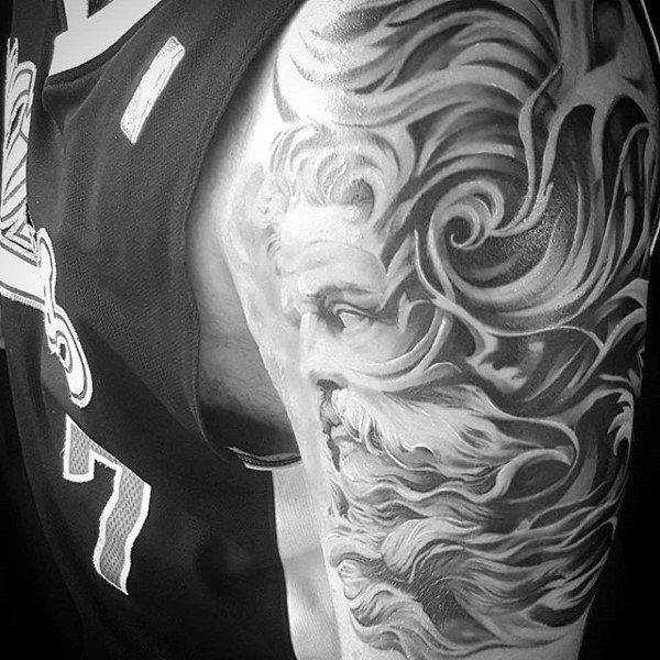 Greek God Mens Filigree Half Sleeve Tattoos