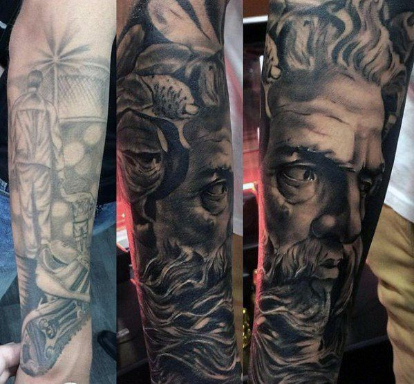 Greek God Mens Tattoo Cover Up Forearm Sleeve