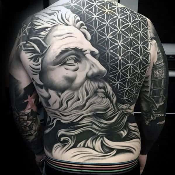 greek-god-portrait-with-geometric-flower-of-life-pattern-mens-cool-back-tattoos