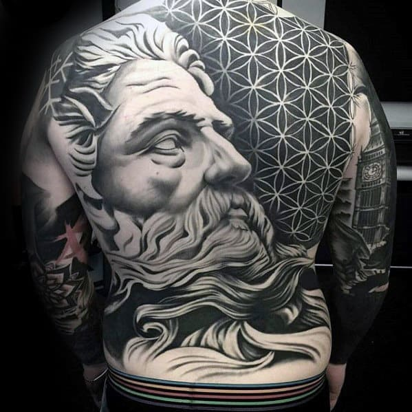 Greek God Portrait With Geometric Flower Of Life Pattern Mens Cool Back Tattoos