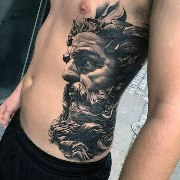 Greek God Side Of Chest Male 3d Tattoos