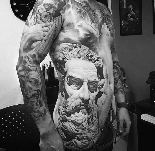 Greek God Stone 3d Realistic Rib Cage Side Of Body Mens Coolest Tattoos
