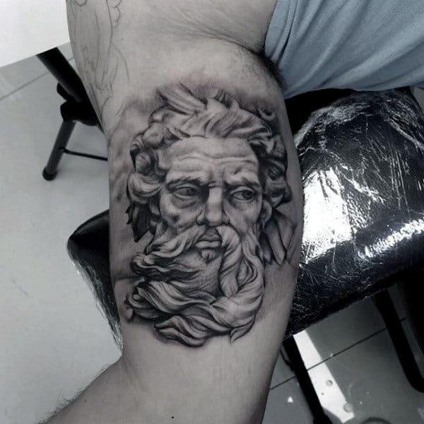 Greek God Tattoo For Men On Bicep