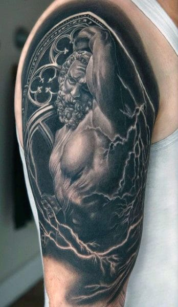 Greek God Tattoo Lightening Bolt For Men