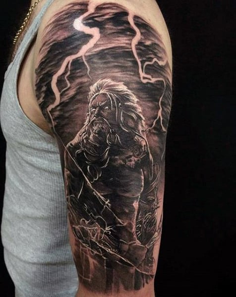 Greek God Tattoo With Lightening Bolt For Men