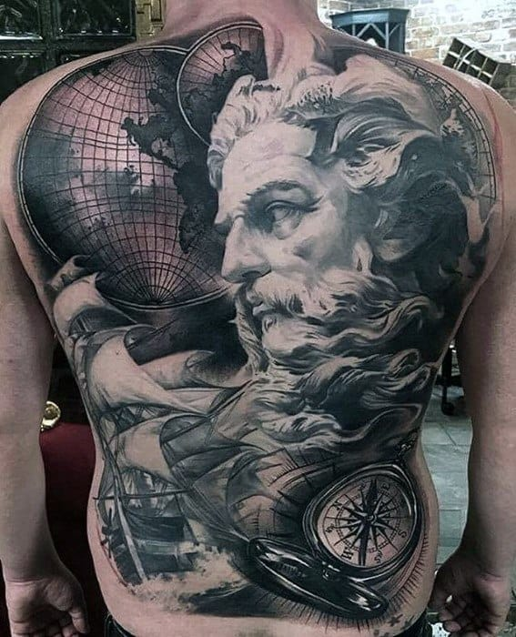 Greek God With Globe Full Awesome Back Tattoos For Men