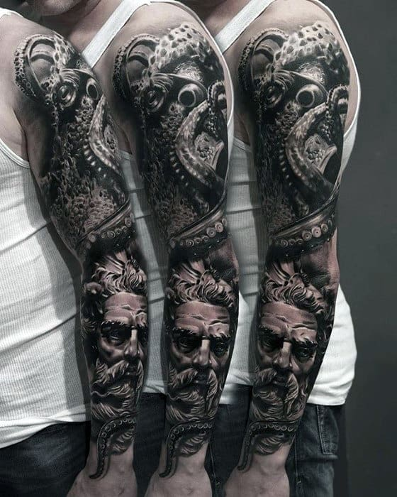 Greek God With Octopus Mens 3d Realistic Black And Grey Ink Sleeve Tattoo