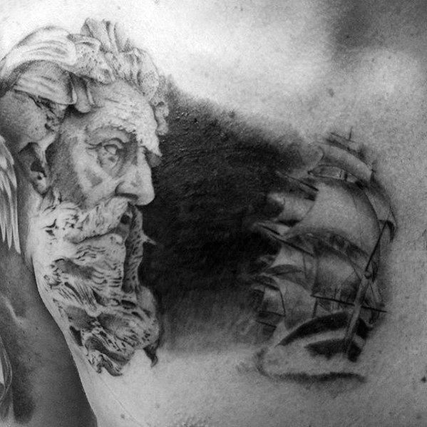 Greek God With Sailing Ship Mens Upper Chest Cover Up Tattoo