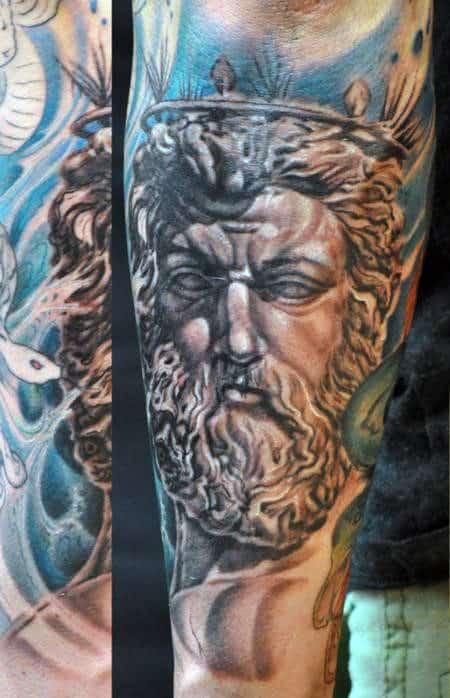 Greek Gods Poseidon Men's Tattoo On Arm