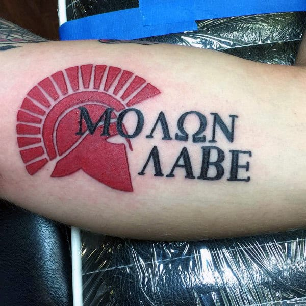 30 molon labe tattoo designs for men tactical ink ideas for Tattoos with words