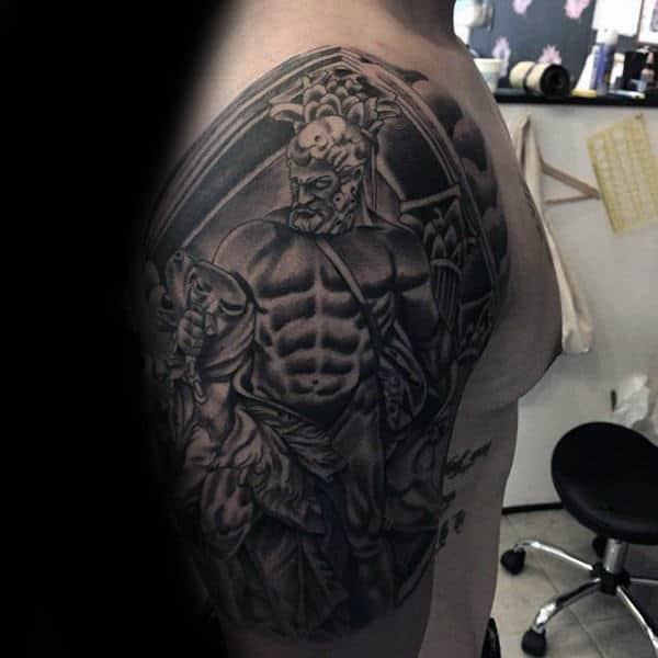 Greek Hercules Mens Upper Arm Tattoos