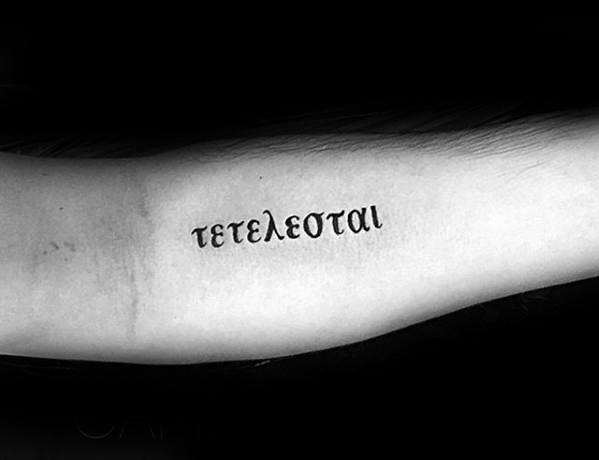 Greek Inner Forearm Tetelestai Tattoos For Males