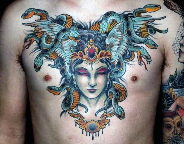 Greek Mythology Medusa Color Chest Tattoos For Men