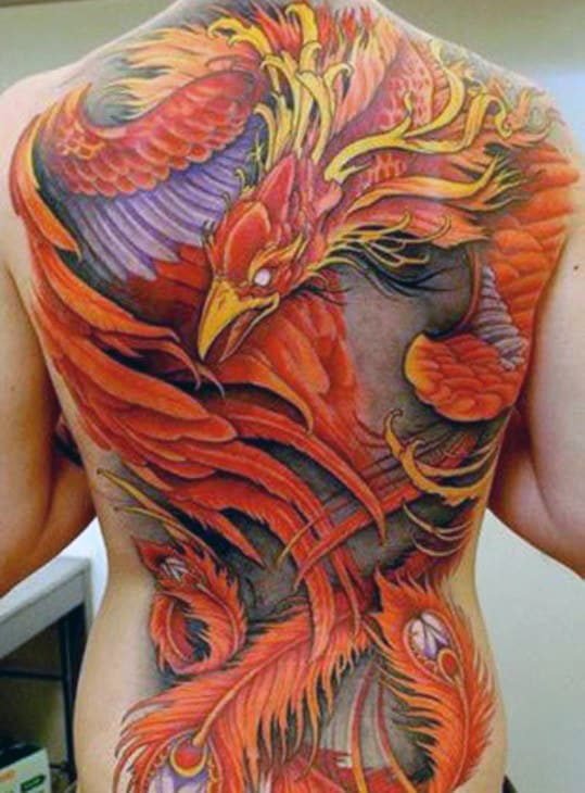 Greek Mythology Mens Orange And Yellow Phoenix Full Back Tattoos