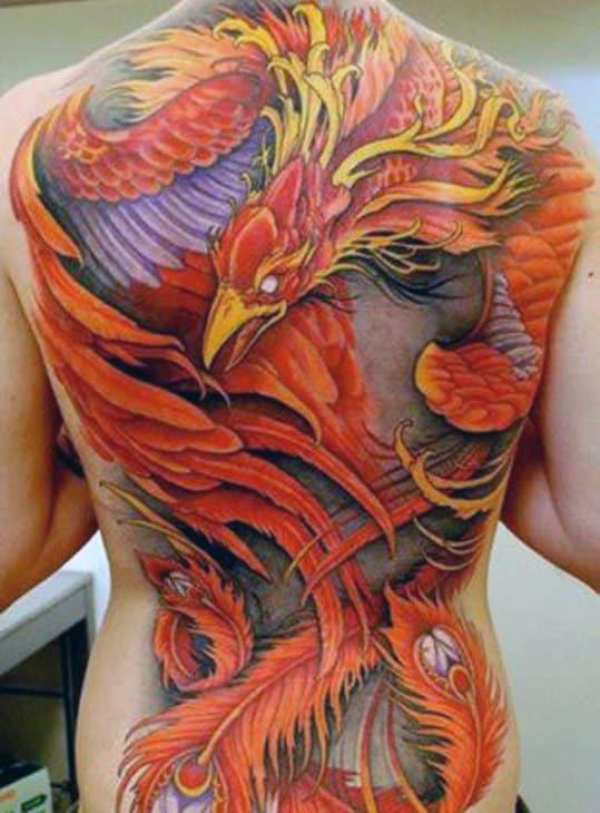 Greek Mythology Mens Orange And Yellow Phoenix Full Back Tattoos