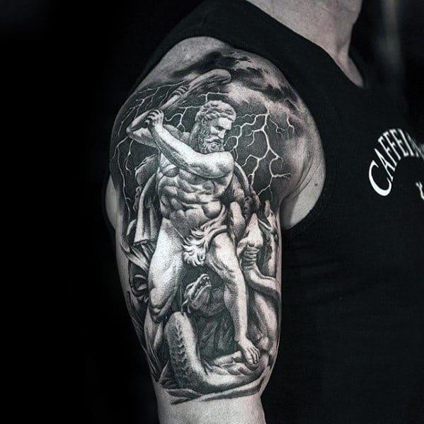 Greek Mythology Mens Sweet Half Sleeve Shaded Tattoos