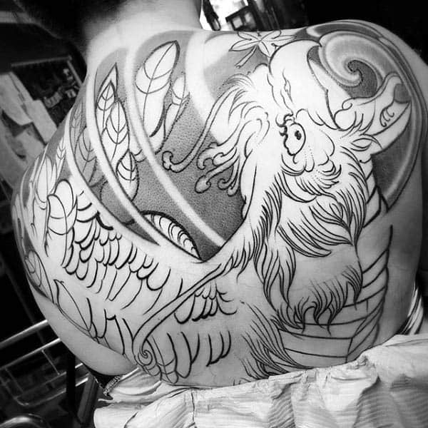 Greek Phoenix Black Ink Outline With Shading Mens Back Tattoos