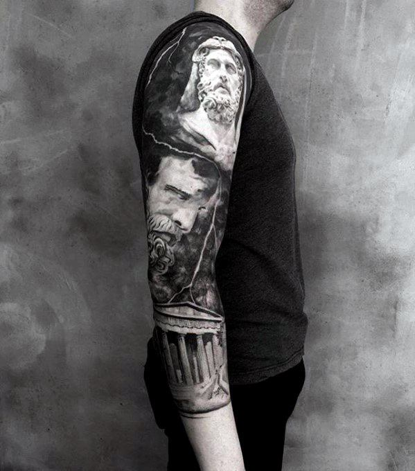 Greek Roman Themed Guys Half Sleeve Unique Arm Tattoo Designs