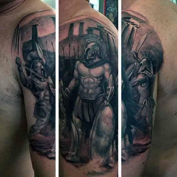 Greek Spartan Tattoo Designs For Males