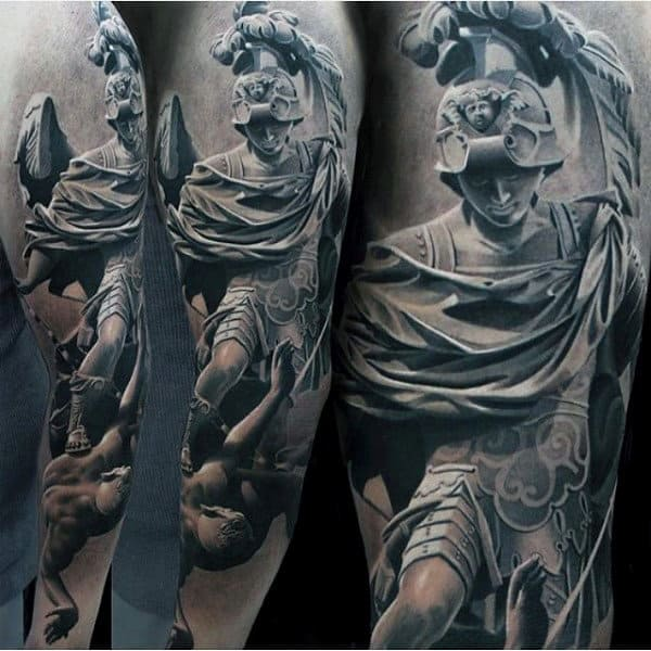Greek Warrior Awesome Mens Sleeve Tattoos