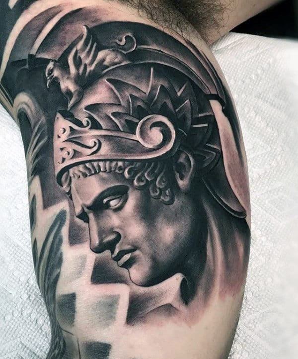Greek Warrior Creative Mens Shaded Inner Arm Tattoo Designs