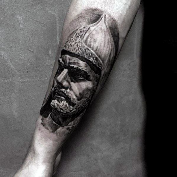 Greek Warrior Guys Unique Forearm Tattoo