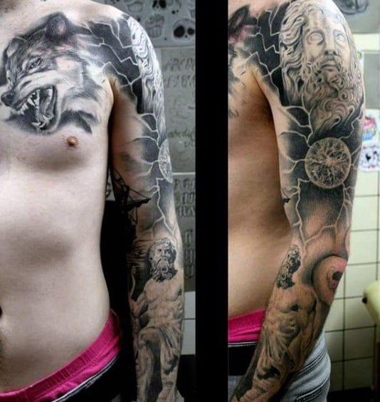 Greek Zeus God Tattoos For Men Full Sleeve