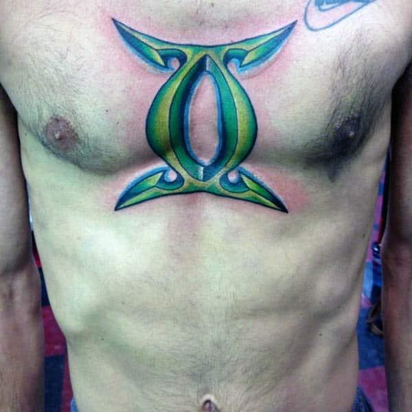 Green 3d Gemini Sign Mens Chest Tattoos