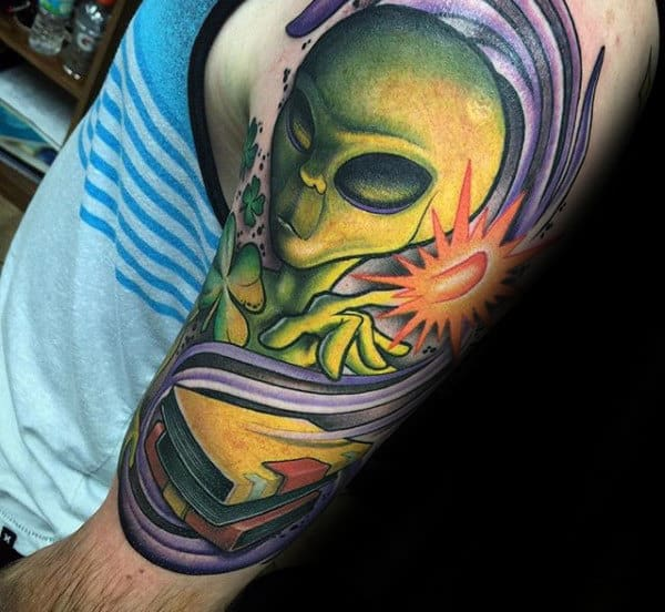 Green Alienmens Half Sleeve Tattoos