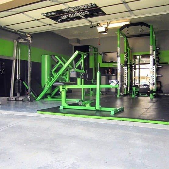 Green And Black Garage Gym Ideas