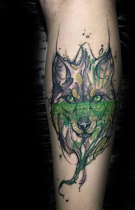 Green And Black Manly Wolf Watercolor Tattoo Design Ideas For Men