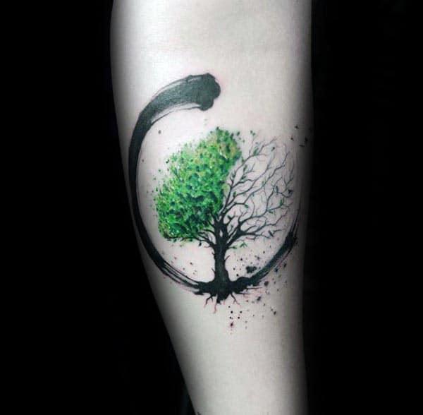 Green And Black Paint Brush Stroke Guys Amazing Tree Of Life Forearm Tattoos