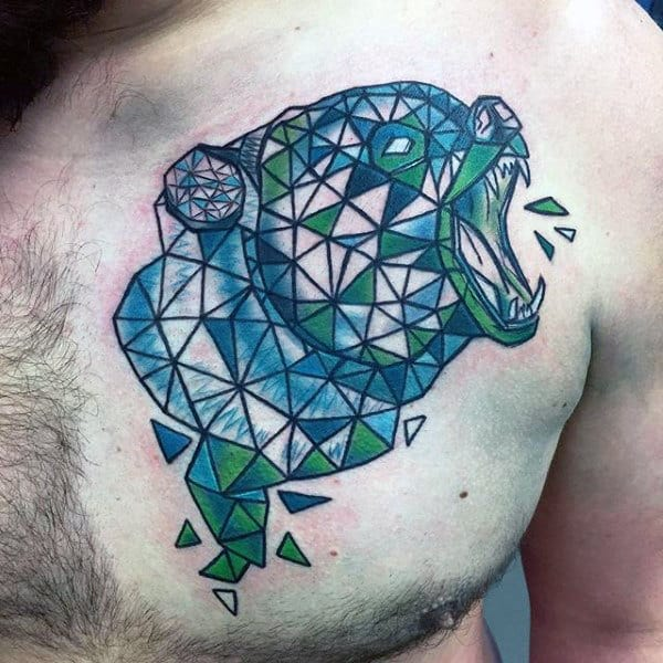 Green And Blue Ink Cool Mens Geometric Bear Chest Tattoos