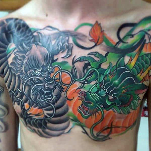 Green And Grey Japanese Dragon Mens Upper Chest Tattoos