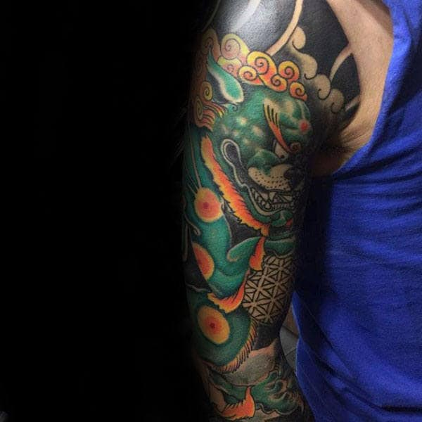 Green And Orange Foo Dog Mens Full Sleeve Tattoo