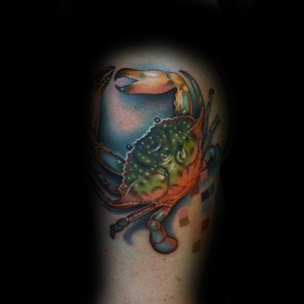 Green And Orange Male Crab Arm Tattoo With Artistic Design