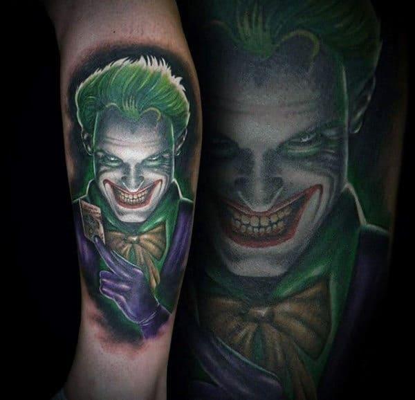 Green And Purple Joker Mens Leg Tattoos
