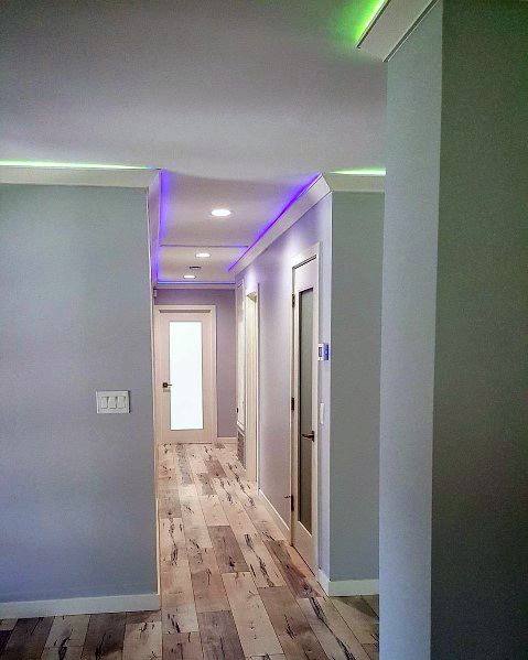Green And Purple Led Hallway Ceiling Crown Molding Lighting Design Ideas