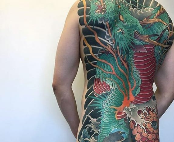 Green And Red Japanese Full Back Mens Dragon Tattoo