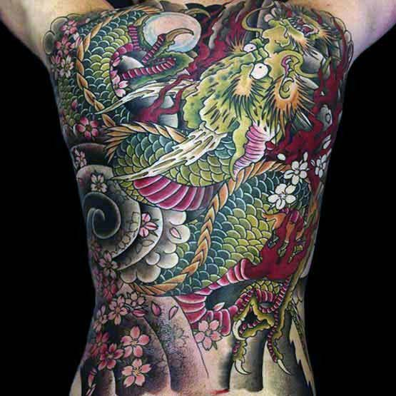 Green And Red Japanese Traditional Male Tattoo Designs On Back