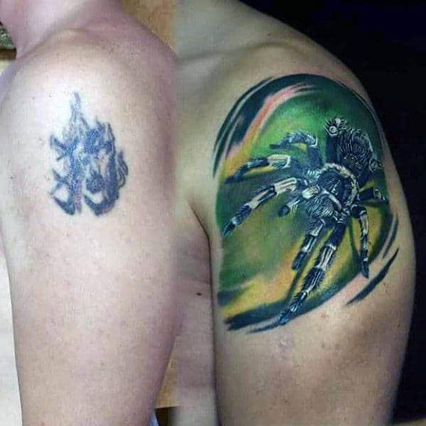 Green And Yello Tarantula Male Watercolor Spider Tattoo Ideas