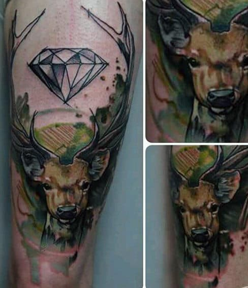 Green And Yellow Mens Deer Tattoos