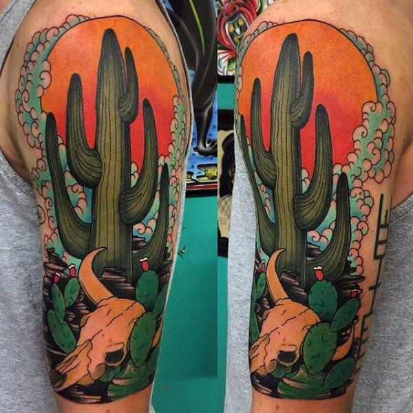 Green Cactus Desert Themed Half Sleeve Guys Tattoos
