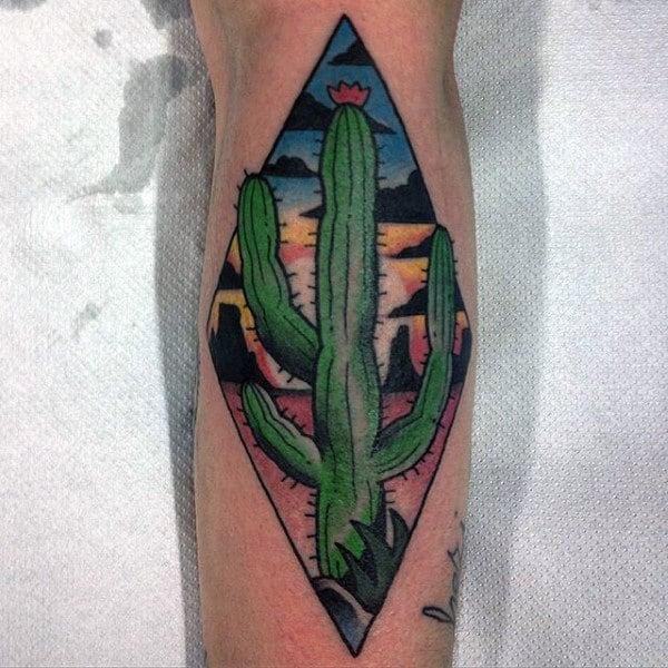 Green Cactus Male Leg Tattoos