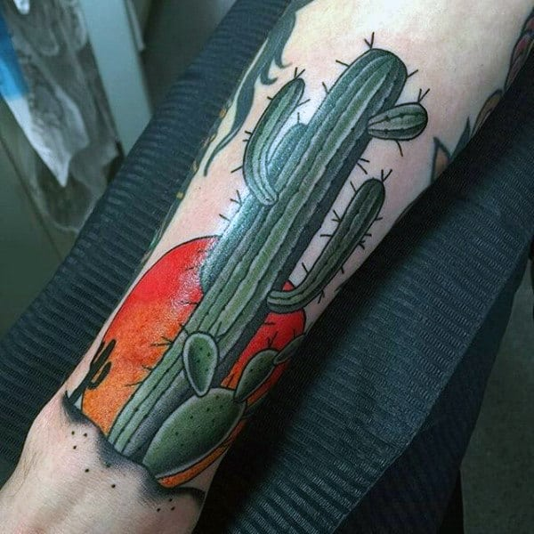 Green Cactus Plant Tattoo With Rising Sun On Man