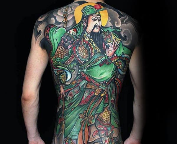 Green Chinese Full Back Mens Tattoo Ideas