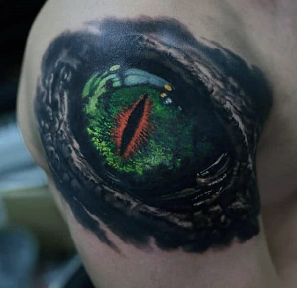 Green Crazy Dragon Eye Male Upper Arm Tattoo