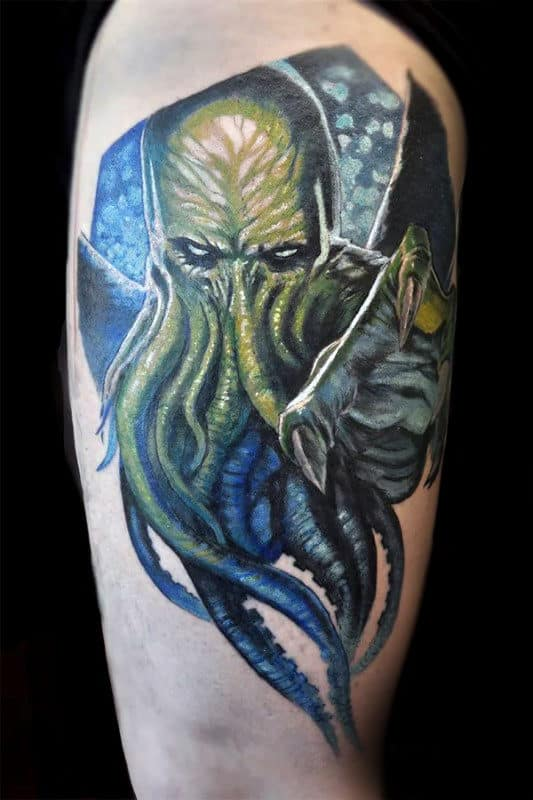 Green Cthulhu Upper Arm Tattoo On Male