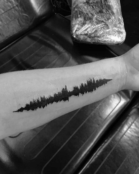 Green Day Soundwave Inner Forearm Tattoo Ideas For Males