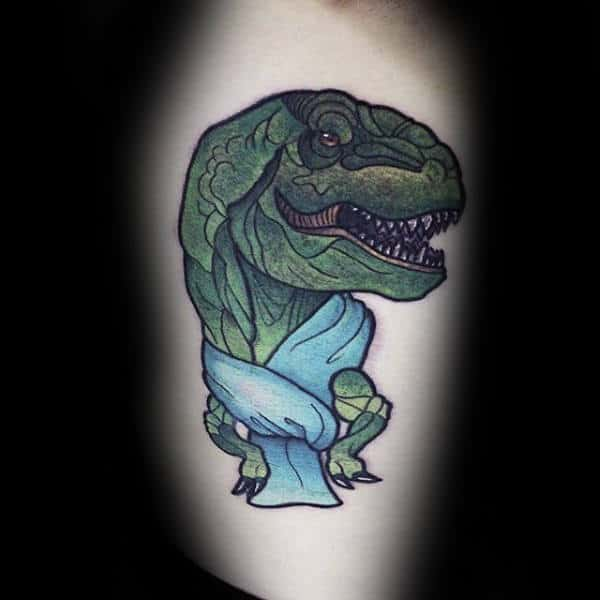 Green Dinosaur Cartoon Wrapped In Towel Tattoo Male Arm